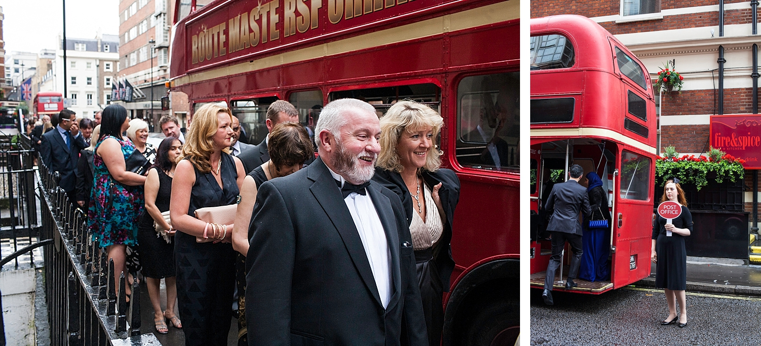 Guests of the Post Office awards board an old London Route Master bus. A pioneering design, the Routemaster outlasted several of its replacement types in London, survived the privatisation of the former London Transport bus operators and was used by other operators around the UK. In modern UK public transport bus operation, the old-fashioned features of the standard Routemaster were both praised and criticised. The open platform, while exposed to the elements, allowed boarding and alighting in places other than official stops; and the presence of a  conductor  allowed minimal boarding time and optimal security, but with greater labour costs. Despite the retirement of the original version, the Routemaster has retained iconic status, and is considered a  British cultural icon . In 2006, the Routemaster was voted one of Britain's top 10 design icons which included  Concorde ,  Mini , ,  London tube map ,  World Wide Web  and the red telephone box.