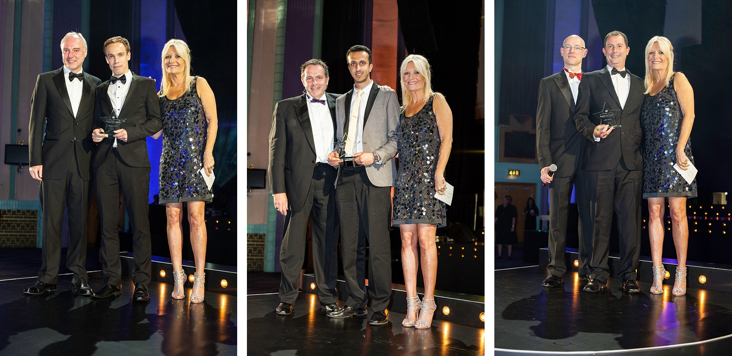 Television star Gaby Roslin with winners of the Post Office awards at the Troxy