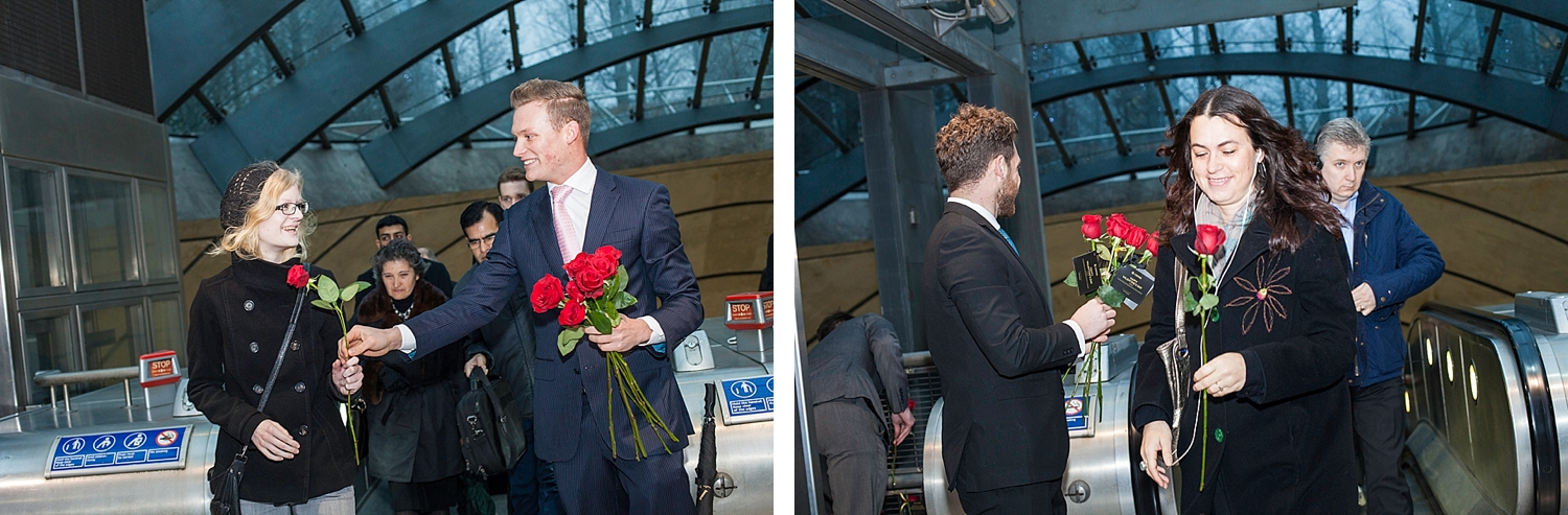 Amorous young men giving red roses on Valentines day courtesy of Chivas Whisky
