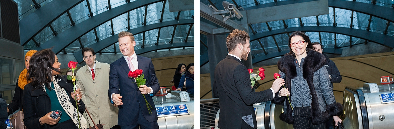 Smiling women commuters receive red roses on Valentines day courtesy of Chivas Whisky