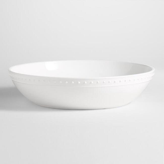 Nantucket White Serving Bowl // $20   Always a white bowl. Me and Ina [Garten] and our white bowls.