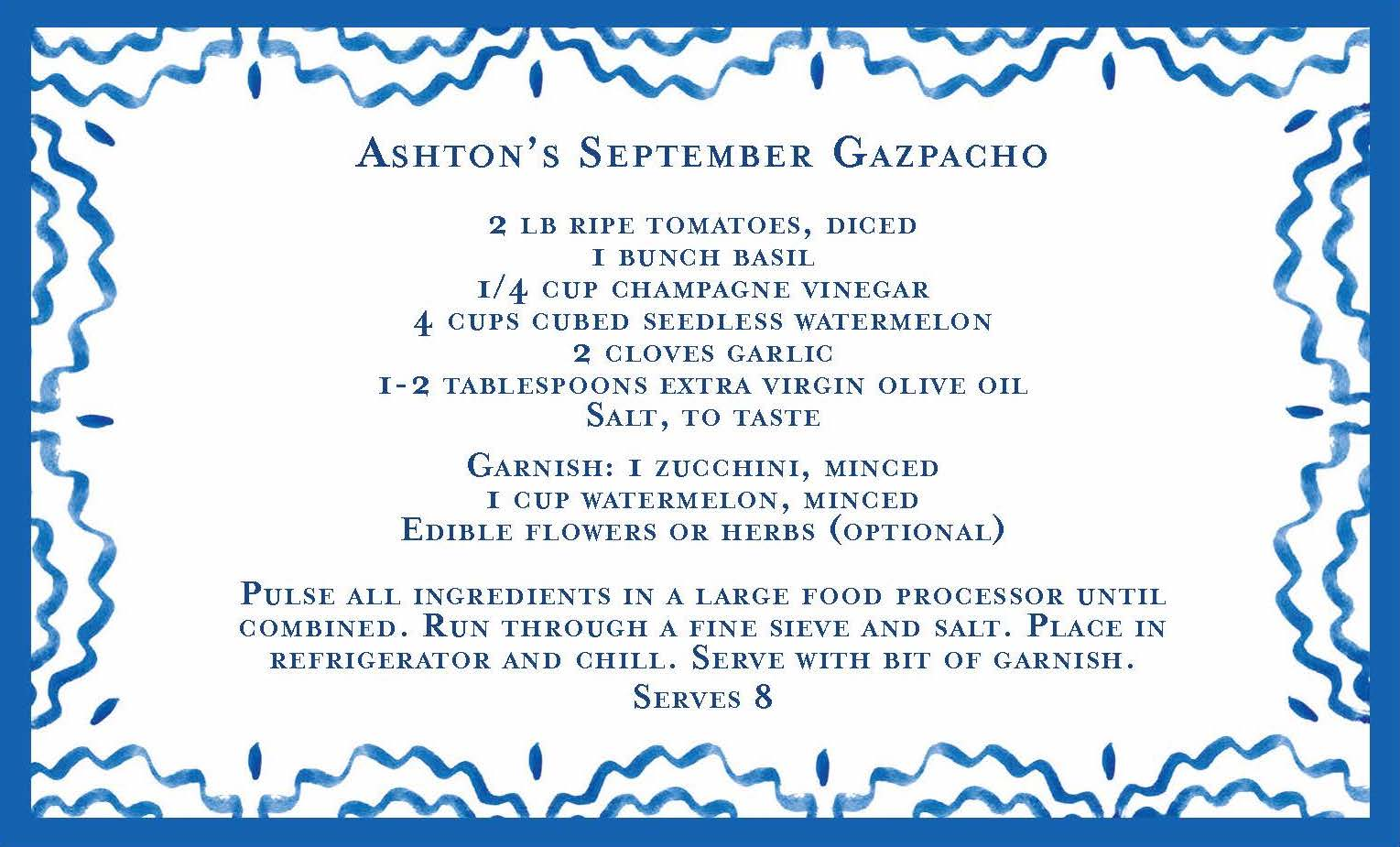 Invitation, menu & recipe card by   Ashley D Studio.