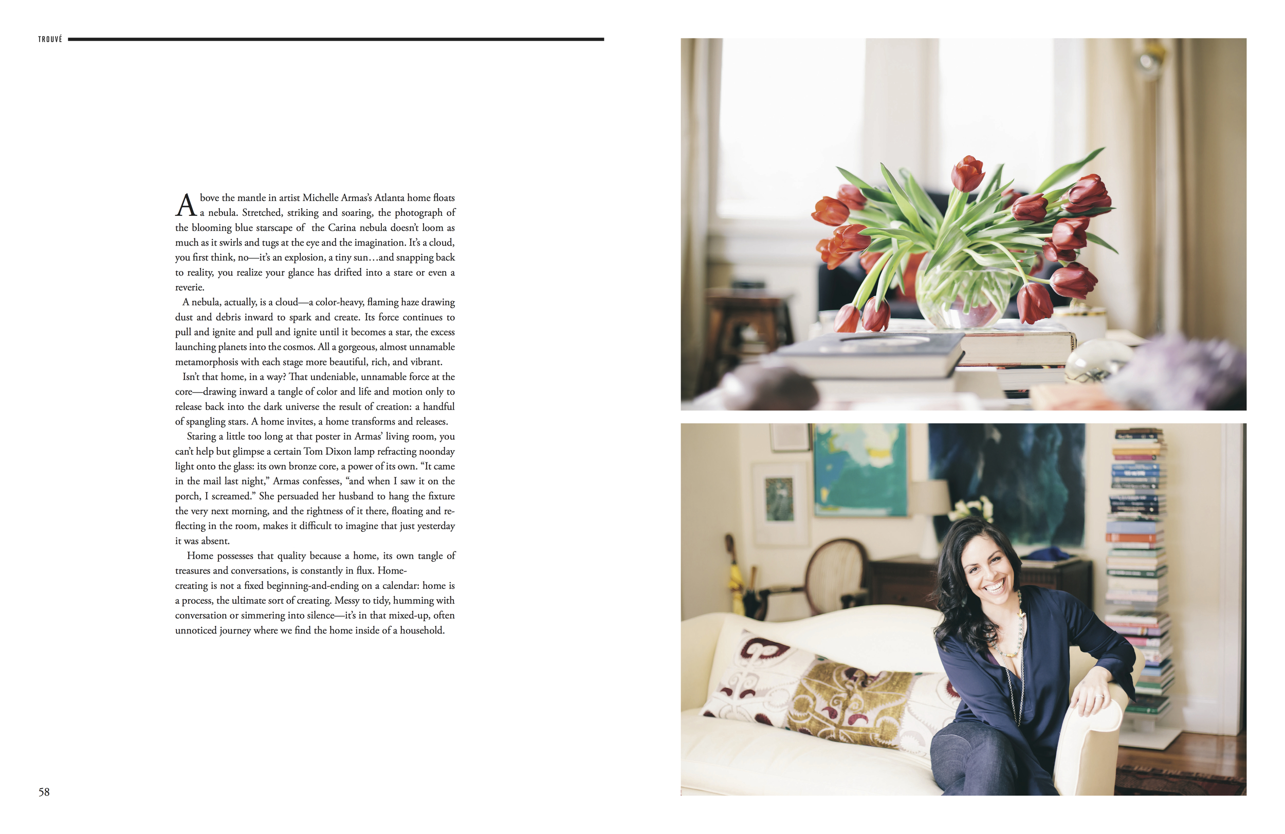 at home with artist Michelle Armas for Trouvé Magazine