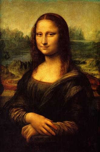 "Ah, the famous smile. Or is it?  "" Mona Lisa"" by   Leonardo de Vinci. c. 1504.  Musee de Louvre, Paris France.  This is a photograph of a faithful production of a 2-D work of art."