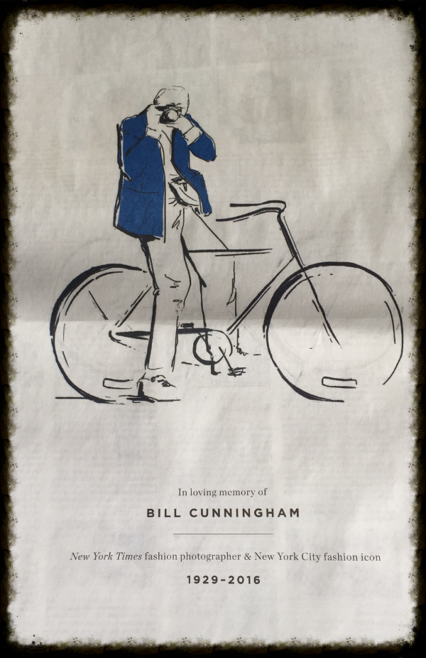 Back page of this Sunday's SundayStyles in  The New York Times.  Almost the entire section, all 22 pages were dedicated to articles or tributes to Bill.