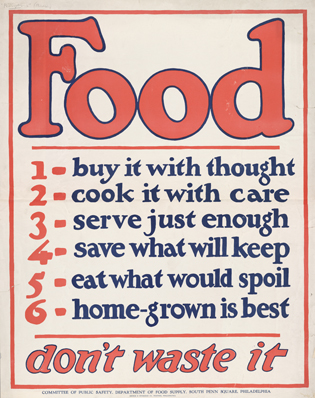 WWII poster encouraging civilians to do their part.  Source: http://www.usda.gov/oce/foodwaste/resources/consumers.htm