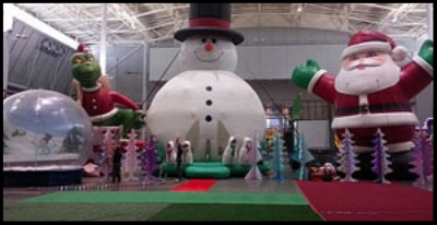 Last year's Christmas in the City winter wonderland.  Took place in an airplane hangar.