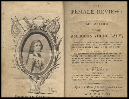 Deborah Sampson, illustration published in the Female Review, circa 1797.
