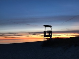 One place that brings me joy- the beach. Winter at sunset. I love the colors of the sky.