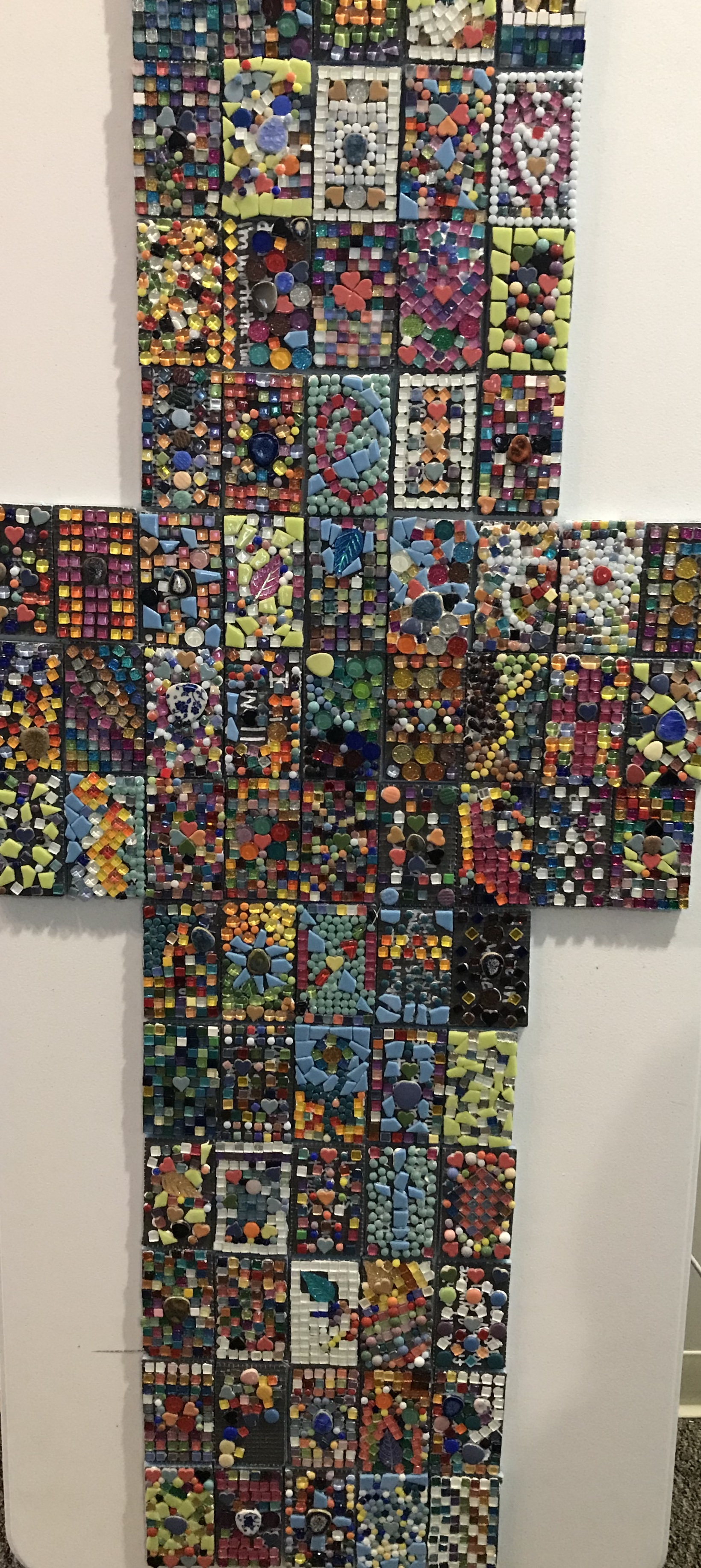 A mosaic made during the women's retreat to demonstrate how our brokenness is used by God to create something unexpected and beautiful.