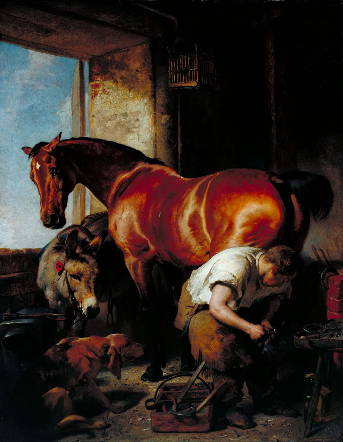 Shoeing, 1844 by Sir Edwin Henry Landseer 1802–1873, Photo © Tate  Image released under Creative Commons CC-BY-NC-ND (3.0 Unported)   https://www.tate.org.uk/art/artworks/landseer-shoeing-n00606