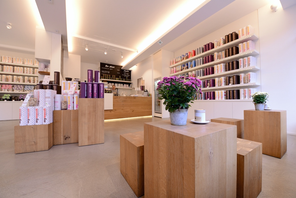 Interior of the MyMuesli Store in Munich