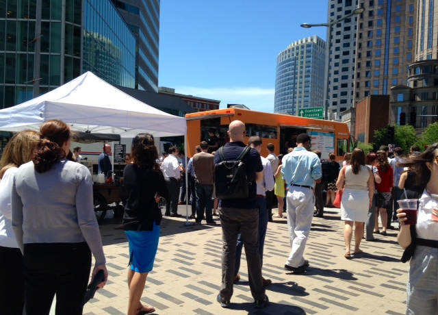 Customers lined up in Dewey Square, outside South Station