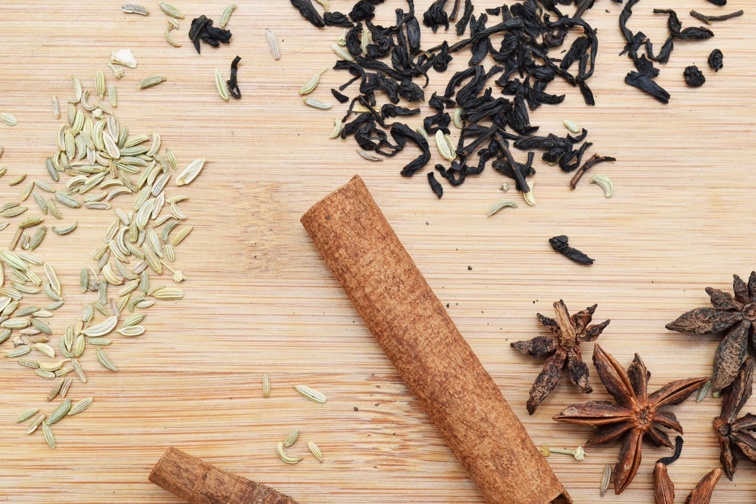 Fennel seeds,Cinnamon sticks, Lasang Souchong Tea and Anise Stars