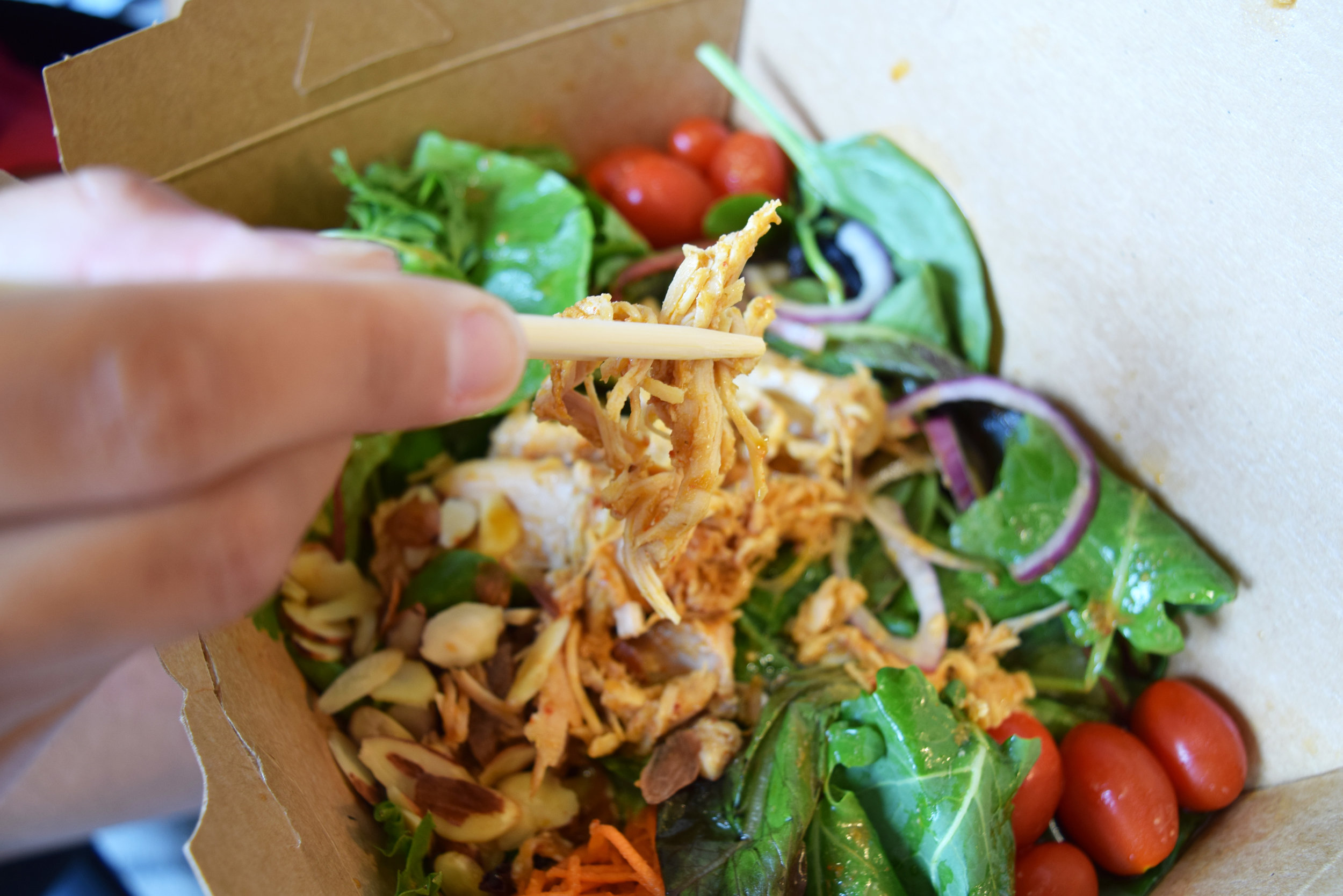 Bon Me Salad topped with Red Curry Chicken