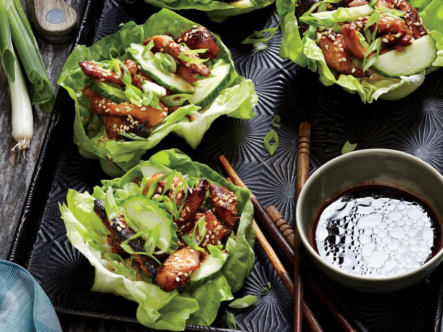 Korean Chicken Lettuce Wraps from CookingLight.com