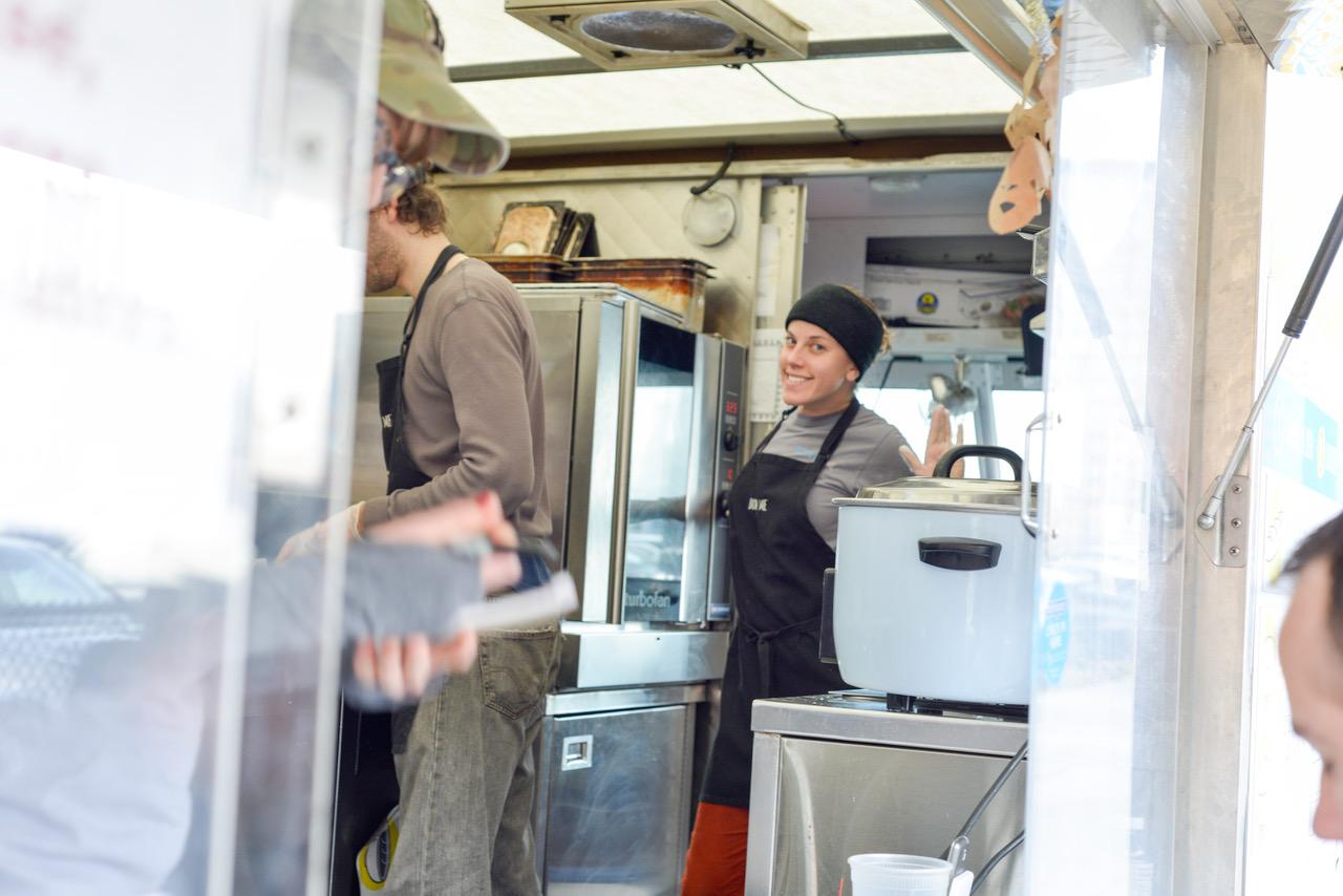 Anna working on a Bon Me truck