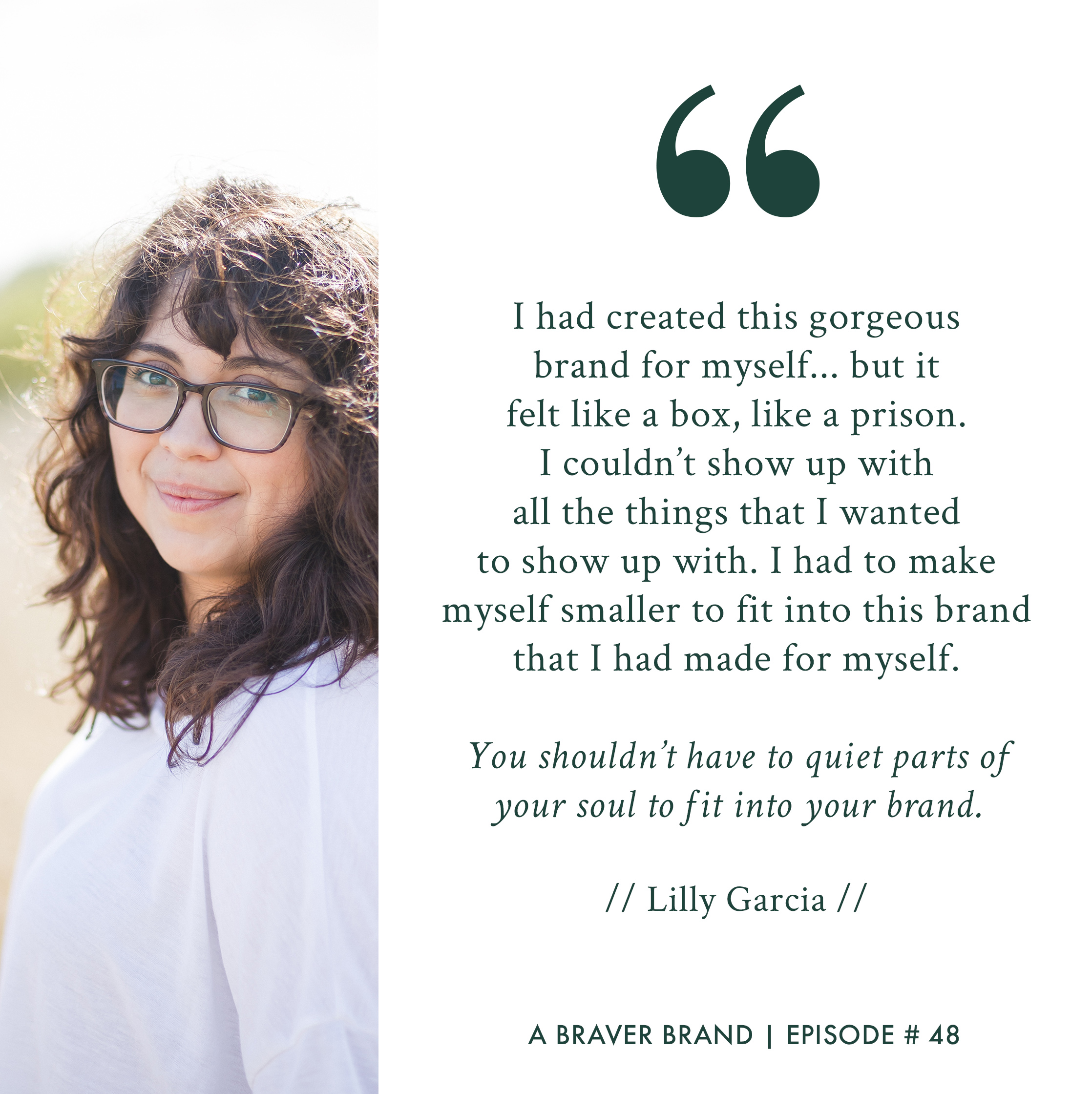 Lilly Garcia, graphic designer for creative entrepreneurs, on A Braver Brand with Kate K. McCarthy