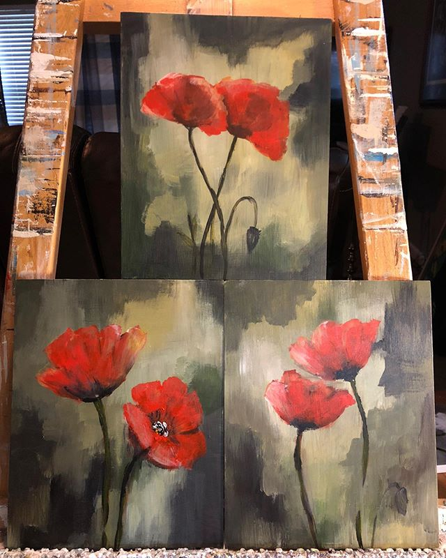 Still on  the easel but,  there is just something about red poppies that pull on my heart strings!
