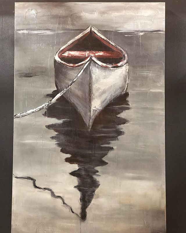 I love experimenting with late afternoon shadows.  #boats #canoeing #afternoonshadows #redcanoe #originalart #acryliconcanvas #sugarms