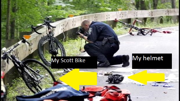 How our bikes ended up after the crash in 2015 with investigators documenting the scene.