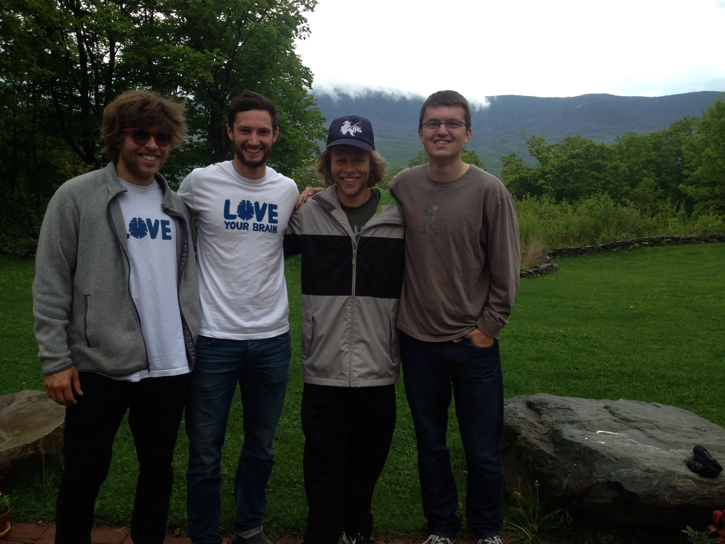 'With my brother Tyler and Kevin and Adam Pearce at my first Love Your Brain Retreat'