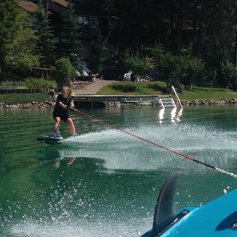 Minutes Before Injury- Wake boarding at our cabin (July 2013)