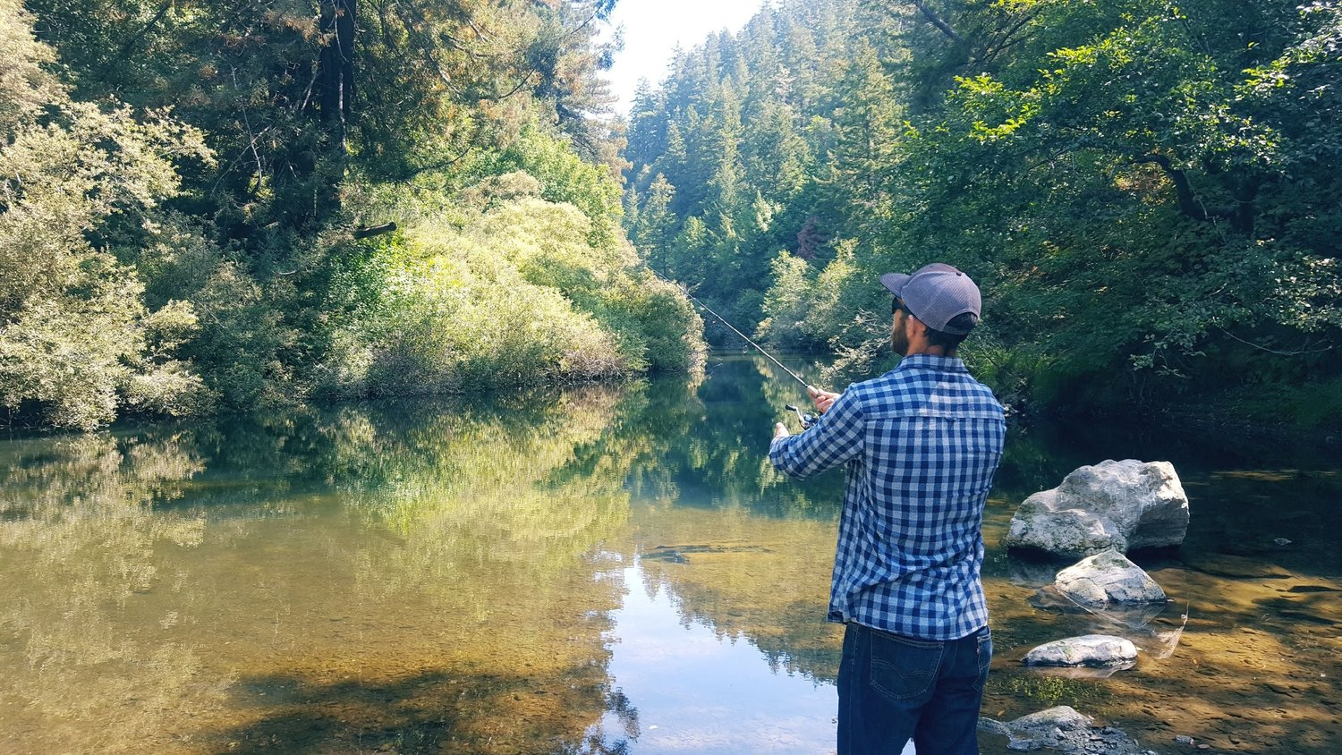 Fishing a river in Northern California, post accident