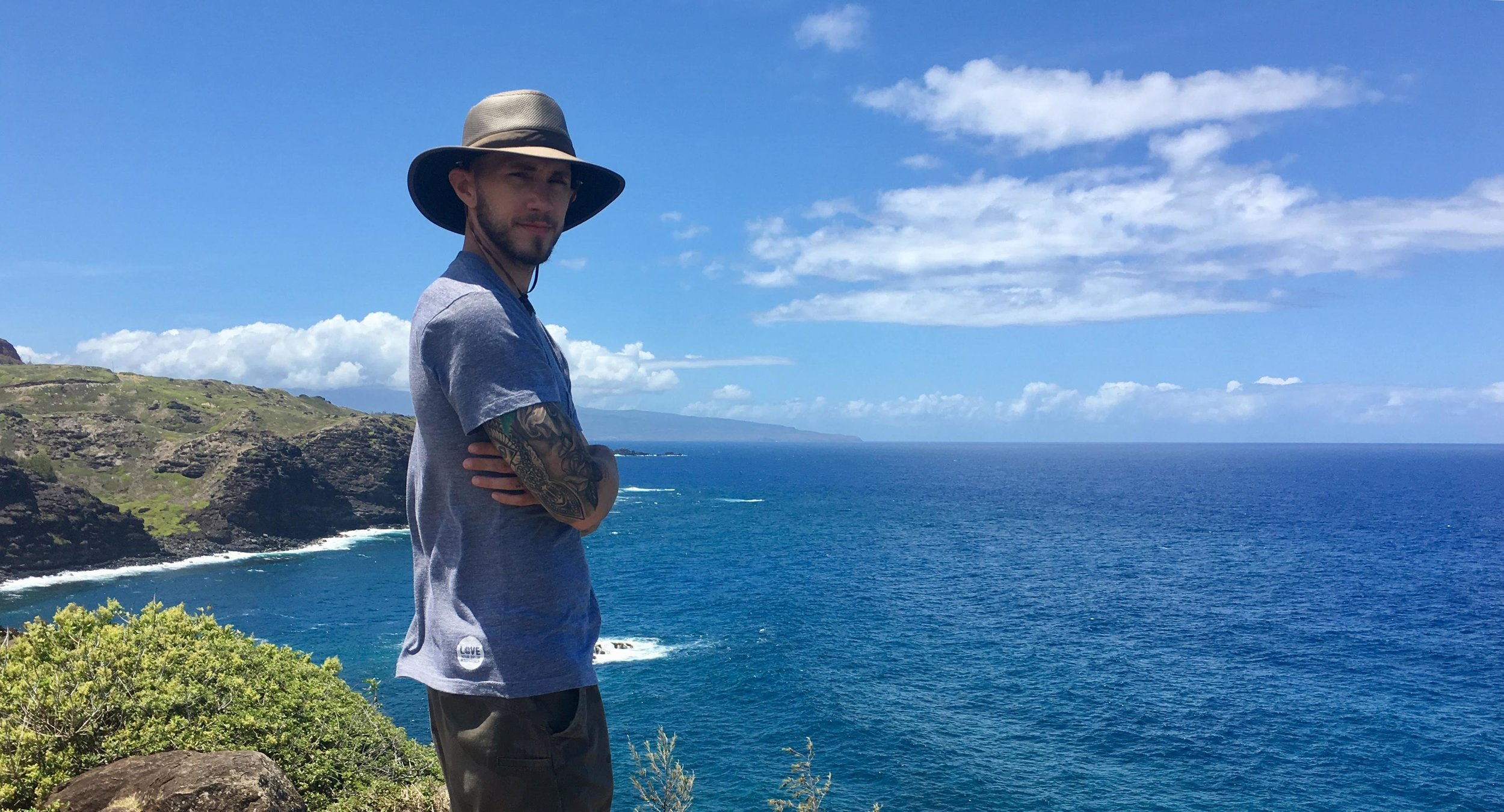 Meditating on a cliff in Hawaii, post accident.