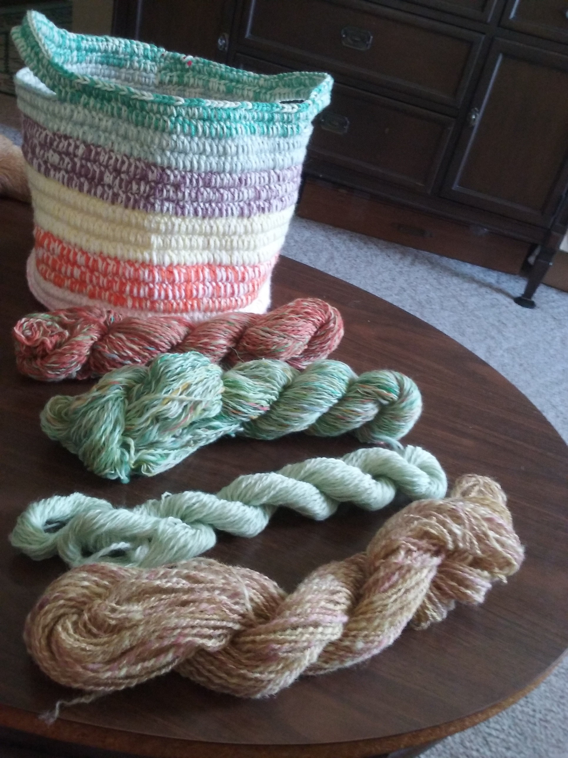 Hand-dyed, spun wool