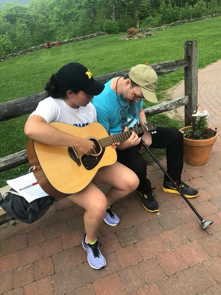 Kevin and I playing guitar together at the LYB retreat in Vermont. Kev knows way more guitar than me but struggles with some of the hand movements so together we make one fantastic musician.