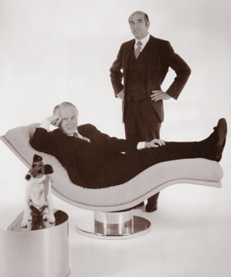 Milo Baughman on the lounger and Thayer Coggin standing(plus very cute dog : )