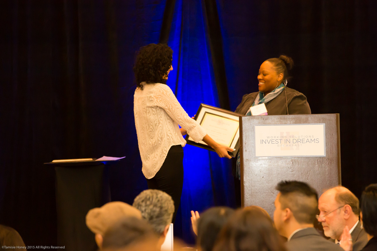 Business Services Director Lorena Roman and 2015 Impact Awardwinner Dionne Knox of Zella's Soulful Kitchen
