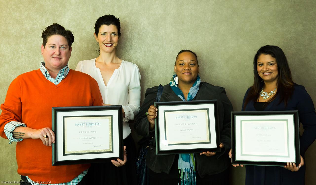 2015 Invest in Dreams HonoreesL Jen Johnson & Serafina Palandech, Hip Chick Farms; Dionne Knox, Zella's Soulful Kitchen; Patty Rodriguez, SF Parking