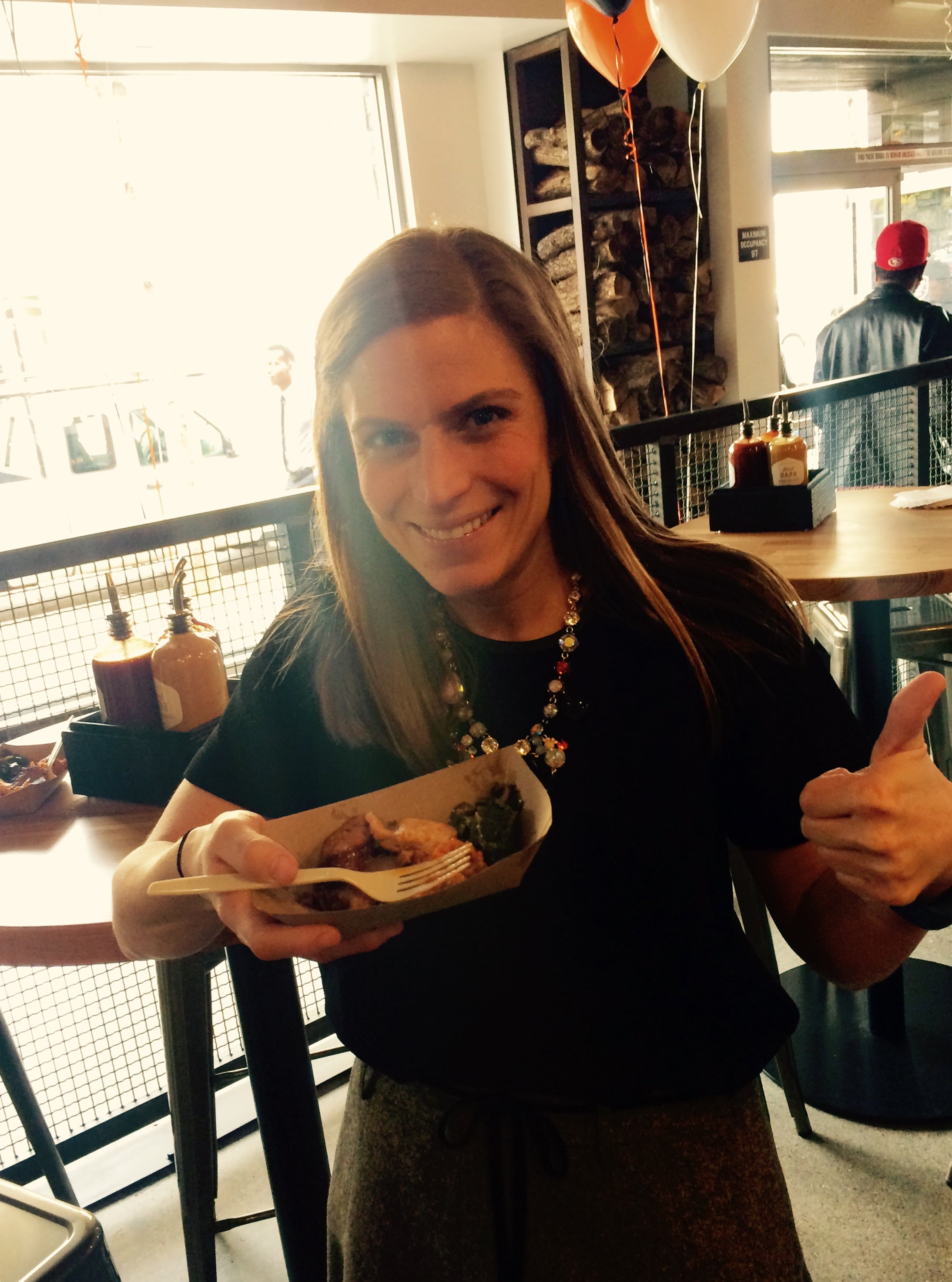 The food at Black Bark BBQ earns a big thumbs-up from Working Solutions Board Member Rachael Claudio