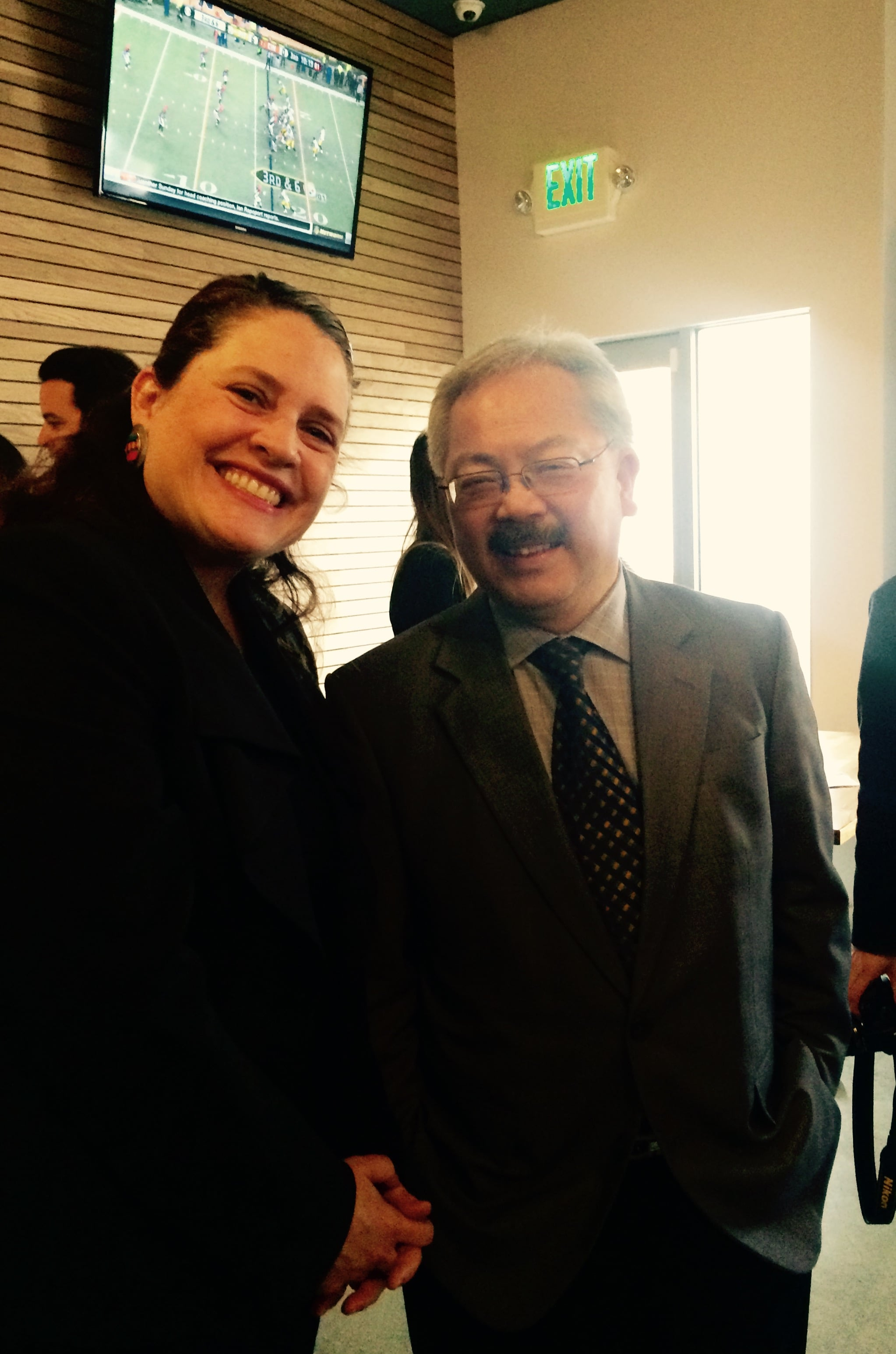 Working Solutions CEO Emily Gasner greets Mayor Ed Lee