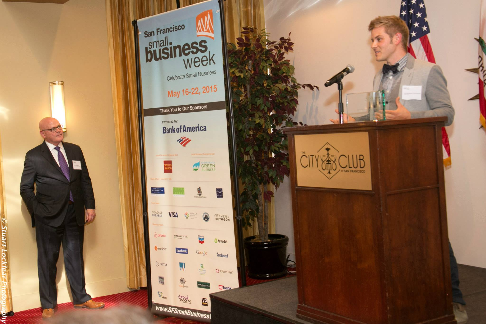 Working Solutions Client Christopher Coccagna of T-We Tea receives an award at San Francisco Small Business Week 2015