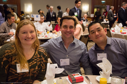 Beth Krauss and Nick Heustis of Whole Foods, and Peter Hou of Pacific Western Bank