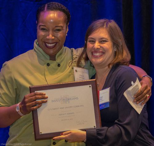 Cheryl Johnson of CJ's Sweet & Savory Cobblers, 2016 Impact Award Winner, and Jaclyn Anku of Working Solutions