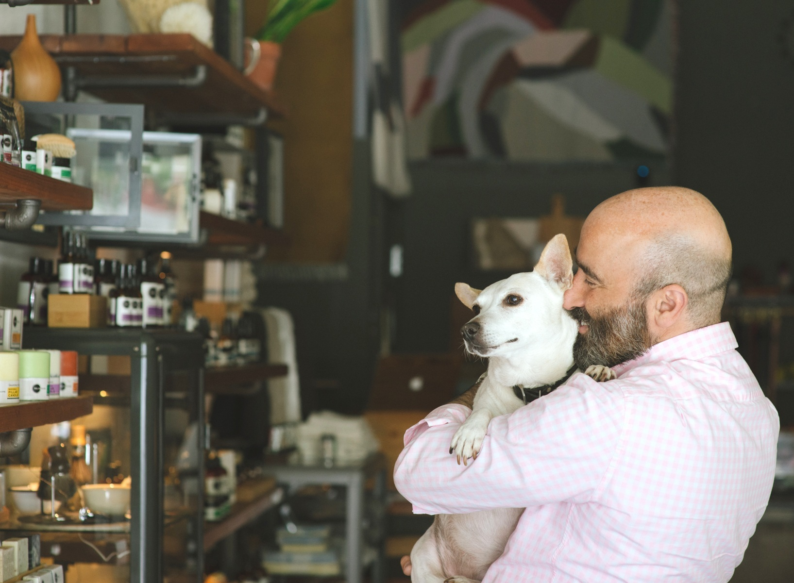 Jonathan Plotzker-Kelly, Founder of Heliotrope - with his dog, Laika (Photo Credit: Michael Joy Photography)