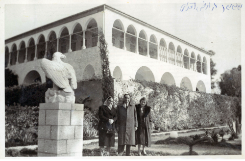 My parents in-law, Zoghieh and Yaghoub Toloui (left and middle), visiting the Mansion of Bahjí on Pilgrimage in 1954