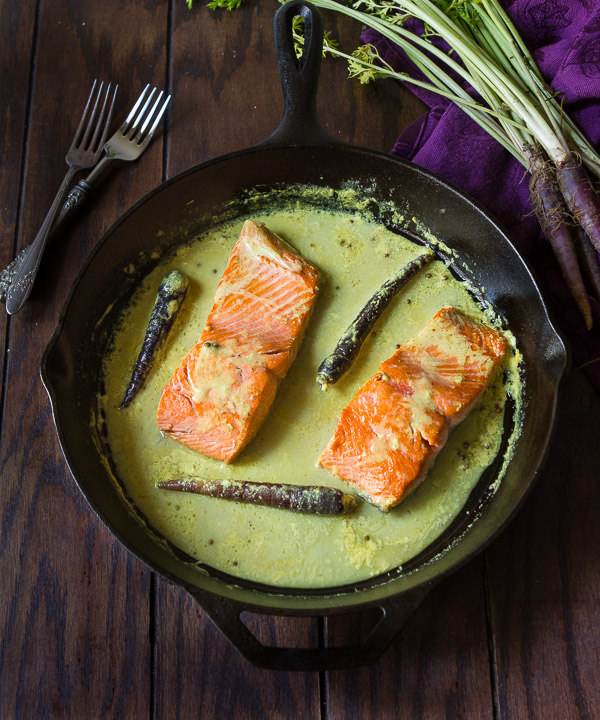 Pan seared salmon in coconut milk