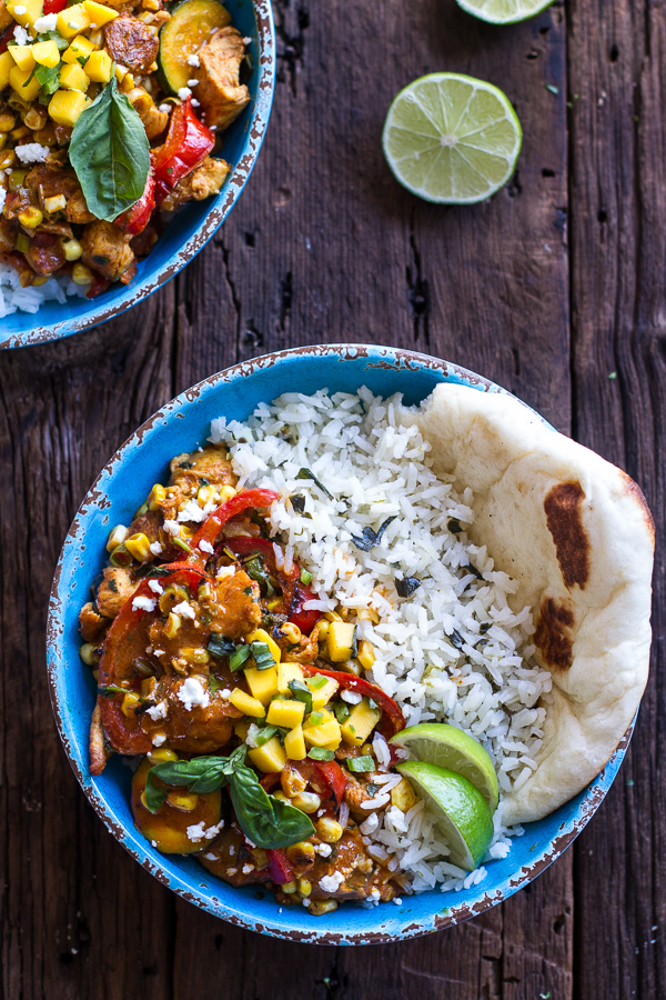 Basil Chicken Curry with Coconut Ginger-Lime Rice