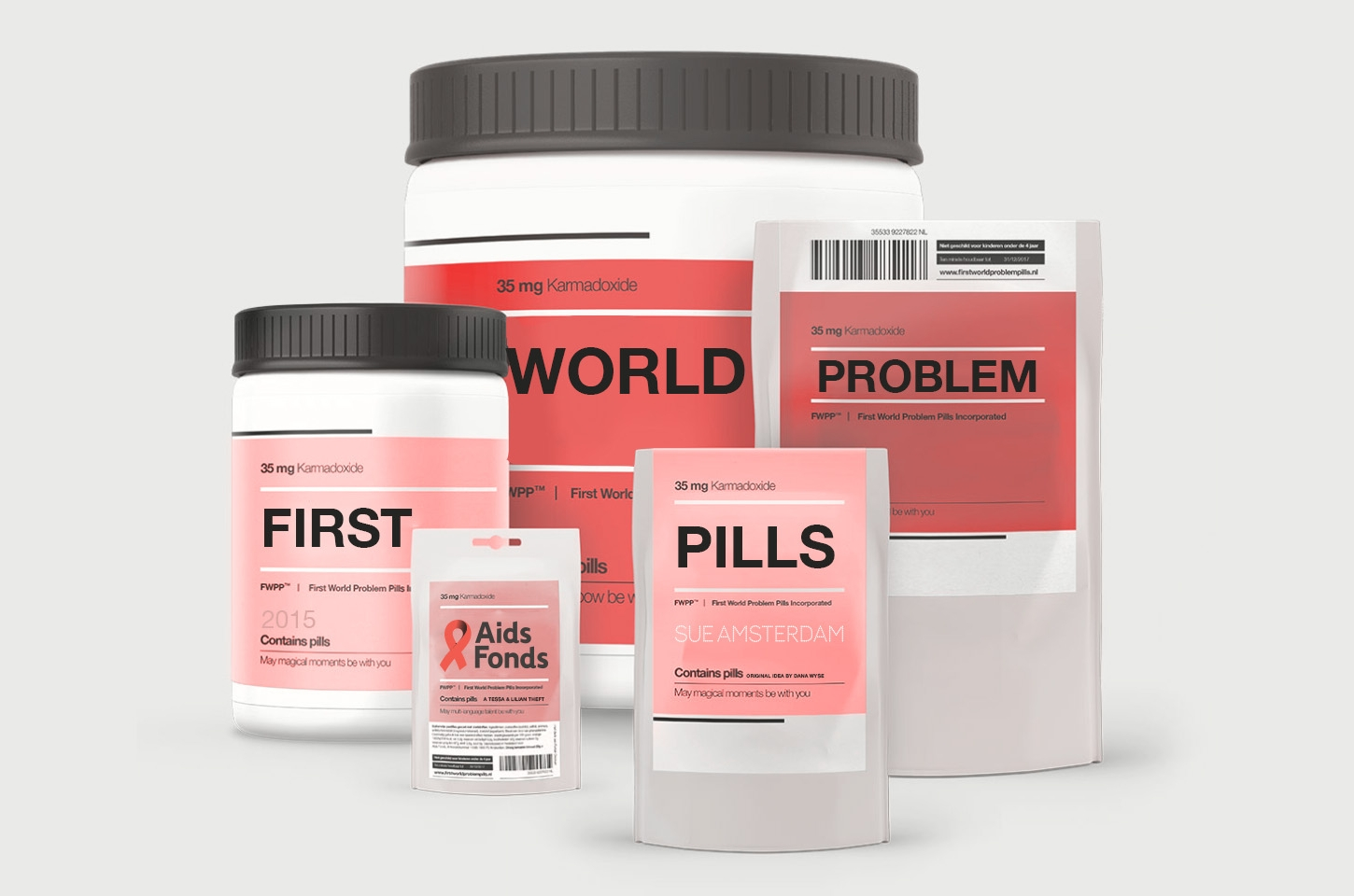 First WorldProblem💊Pills - Buy these quirky pills to solve your (first world) problem.Pay to give a patient in need his/her lifesaving medicine.Fundraiser for Aids Fonds - Sue Amsterdam 2015