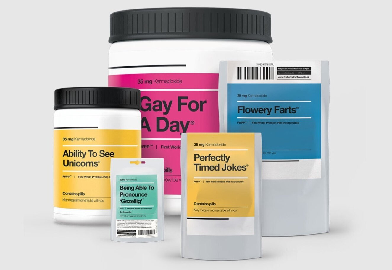 First WorldProblem💊Pills - Buy these quirky pills to solve your (first world) problem.Pay to give lifesaving medicine to a patient in need.Fundraiser for Aids Fonds - Sue Amsterdam 2015