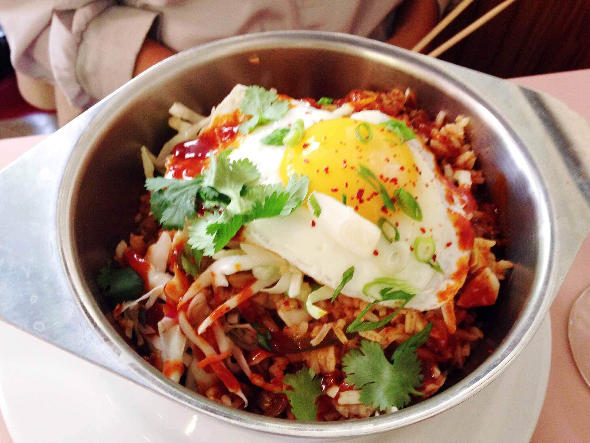 Kim Chee Fried Rice with Fried Egg on top.