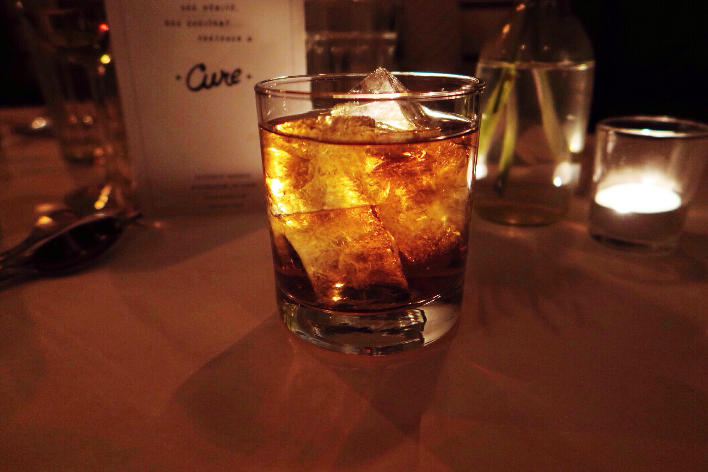 Try the Goat Hill at Cure with Wiser's Rye, Black Bottle Scotch (Scotchyscotch scotch), Cardamaro, Carpano antica, and lemon bitters. So manly & Ron Burgundy like!