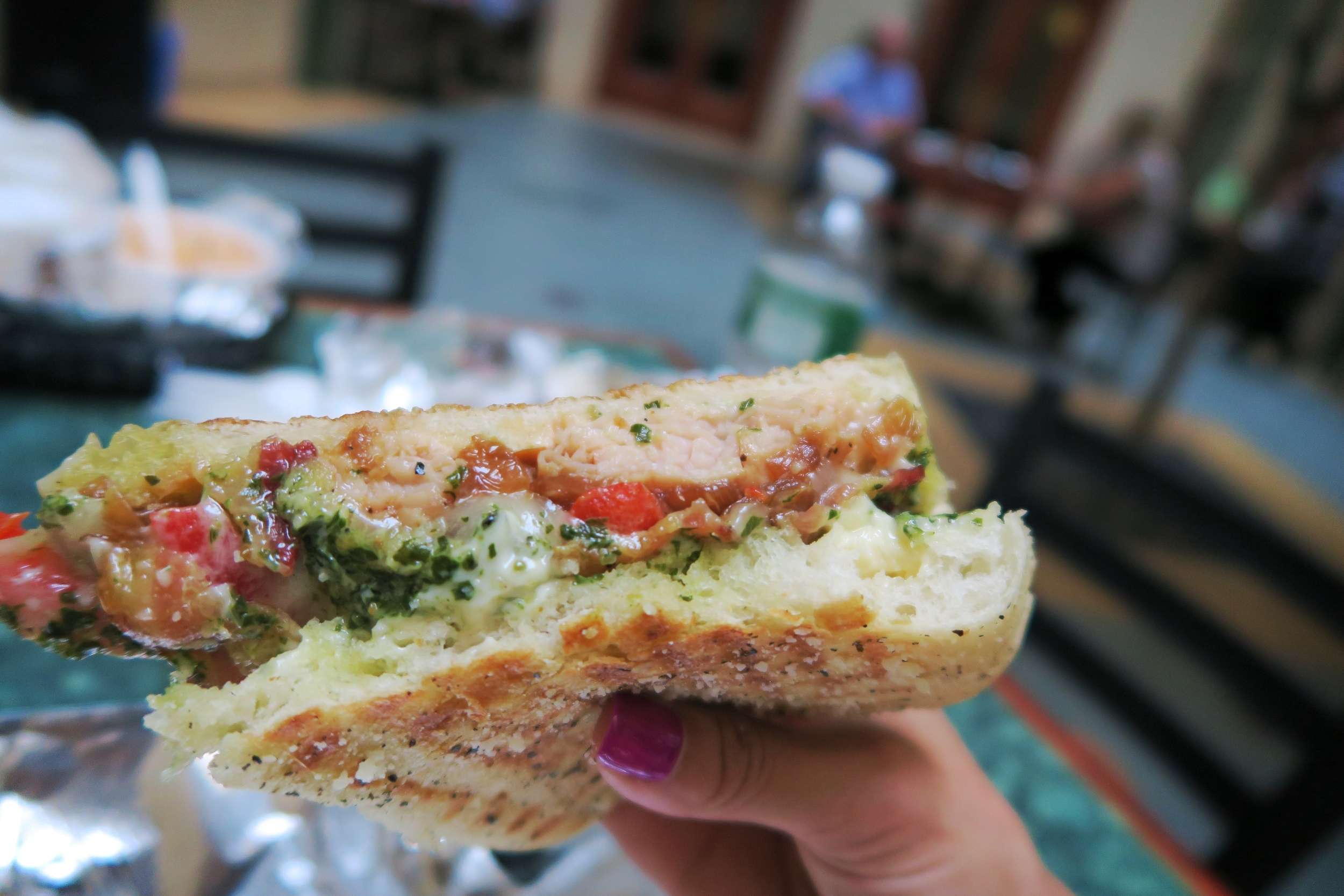 Smoked Turkey Pesto Panini with Applewood Smoked Bacon, Melted Provolone, Caramelized Onions, Roasted Red Peppers, Basil Pesto Aioli on Grilled Artisan Focaccia $7.95