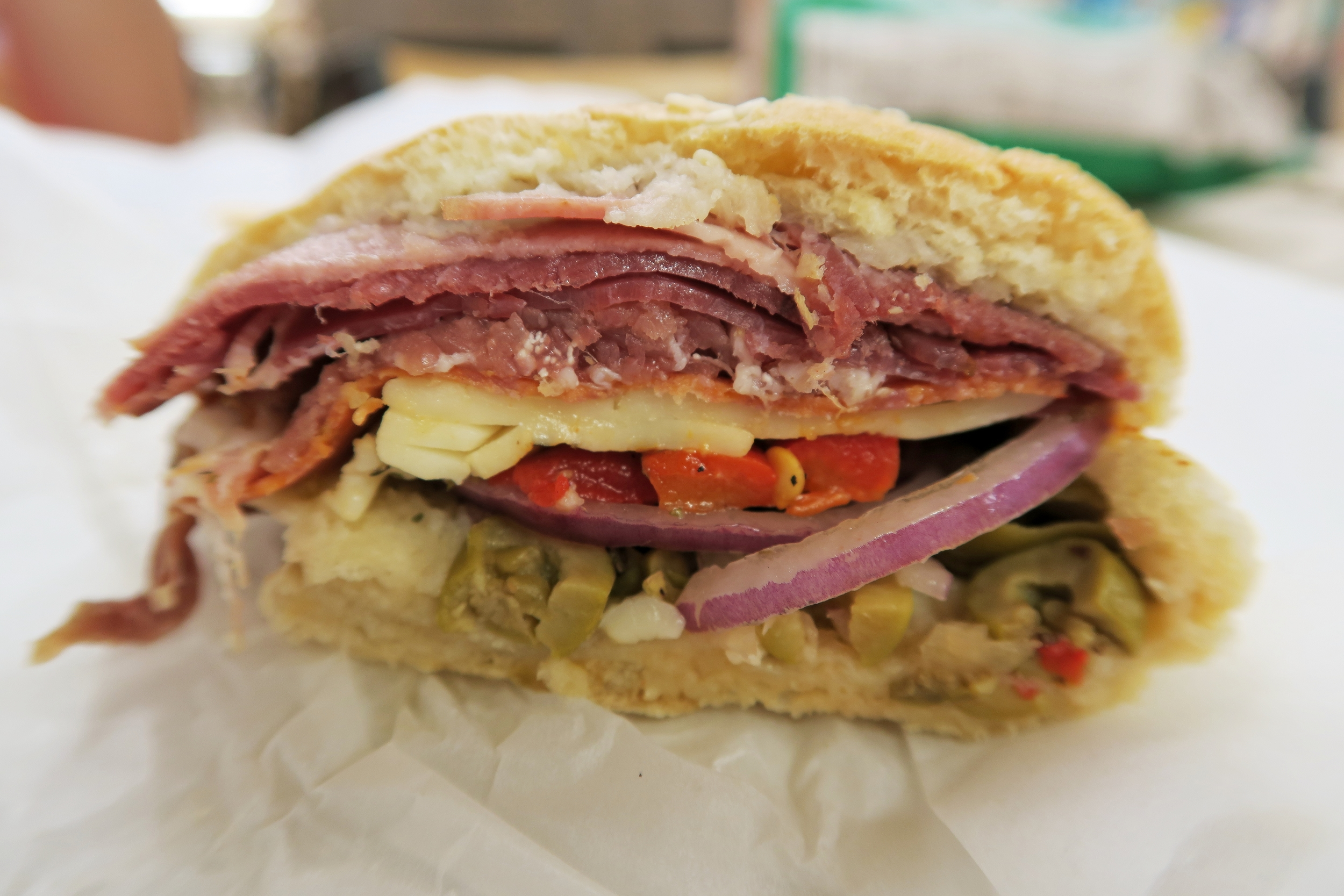 The Capo: Mortadella, Pepperoni, Prosciutto, & Hot Capicola served with oil, vinegar, italian seasoning, green olives, roasted red peppers, red onions, and mozzarella $7.79
