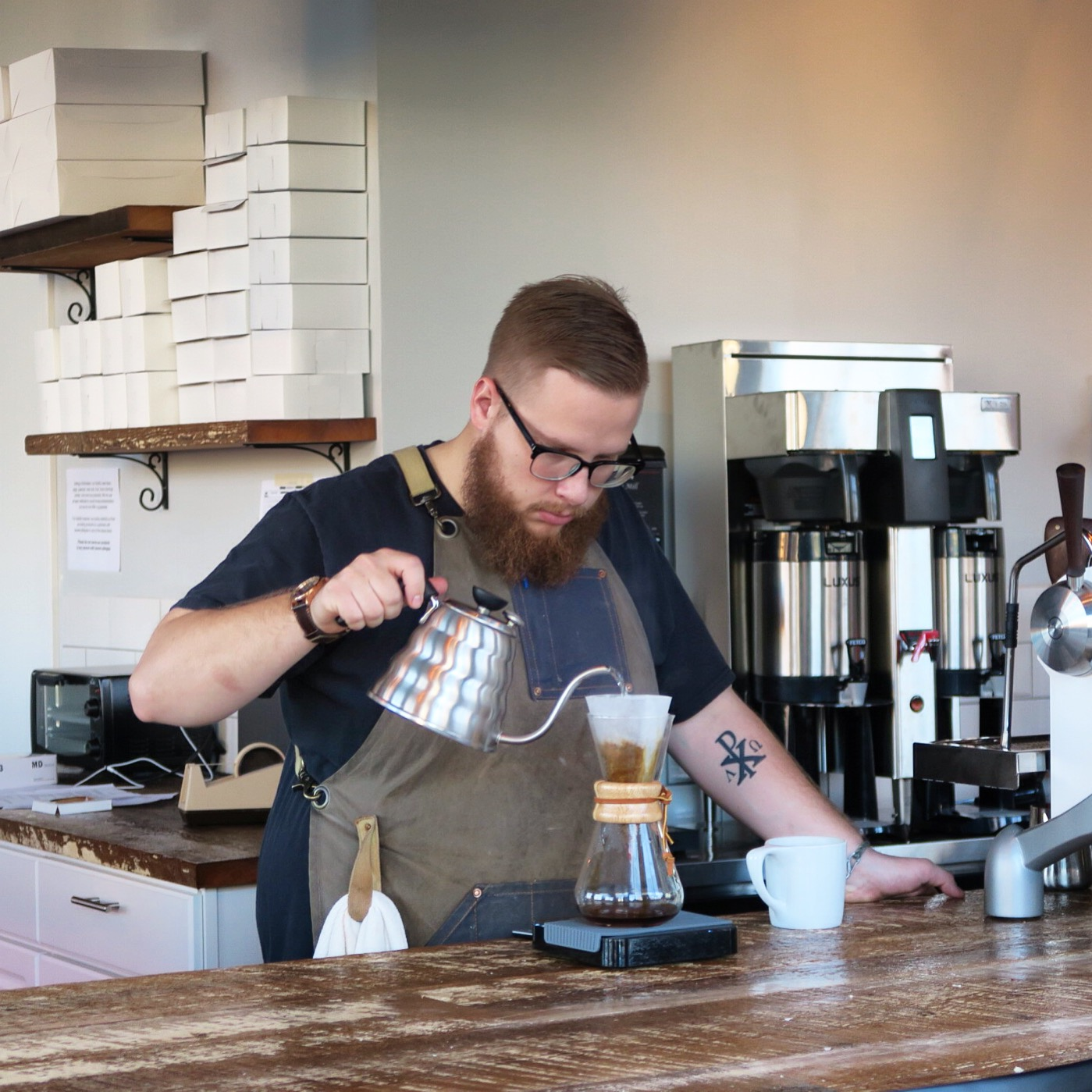 Ryan Baker, Manager   ☕️  @uppercrustcakery  /  @glenedithcoffee greets his customers with love and makes the best dang Pour Over coffee!